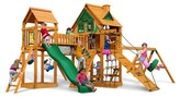 Gorilla Playsets Pioneer Peak Treehouse Swing Set with Fort Add-On & Amber