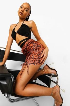 boohoo Ribbed Zebra Print Ruched Mini Skirt