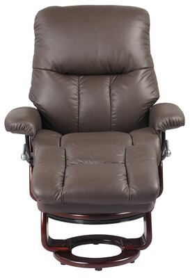Red Barrel Studio Febe Leather Manual Swivel Recliner with Ottoman Upholstery Color: Chocolate Brown