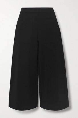 Stella McCartney - Cropped Stretch-knit Wide-leg Pants - Black