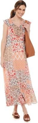 Chaps Women's Ruffle Chiffon Maxi Dress