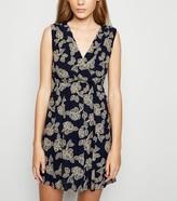 New Look Mela Floral Wrap Skater Dress