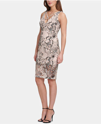 Marciano Embroidered Sequinned Bodycon Dress