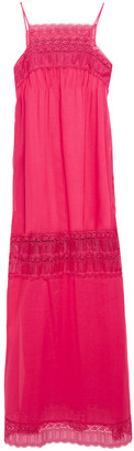 Charo Ruiz Ibiza Guipure Lace-trimmed Cotton-blend Voile Maxi Dress