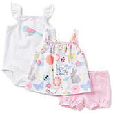 Starting Out Baby Girls Newborn-9 Months Printed Top, Flutter-Sleeve Bodysuit, & Solid Shorts 3-Piece