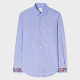 Paul Smith Men's Slim-Fit Sky Blue Cotton Shirt With Paisley Embroidered Cuffs