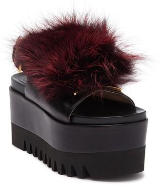 Sergio Rossi Fur Platform Wedge Sandal