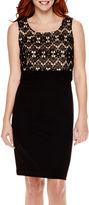 Liz Claiborne Sleeveless Lace-Bodice Sheath Dress