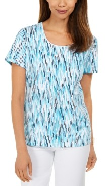 Karen Scott Petite Ikat-Print Top, Created for Macy's