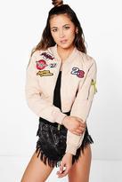 Boohoo Boutique Millie Crop Badge Bomber