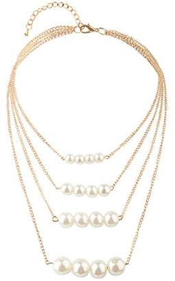 Front Row Gold Colour Multi Layered Glass Pearl Necklace of Length 51cm