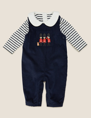 Marks and Spencer 2 Piece Pure Cotton Cord Embroidered Dungaree Outfit (0-3 Yrs)