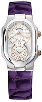 Philip Stein Teslar Ladies' Signature Stainless Steel Dual Time Zone Watch with Leather Strap