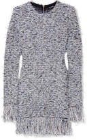 Balmain Frayed Stretch-tweed Mini Dress - Blue