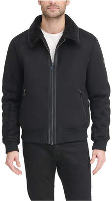 DKNY Men Faux Shearling Bomber Jacket with Faux Fur Collar