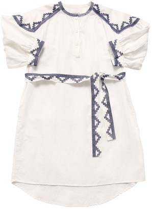 LES COYOTES DE PARIS Embroidered Cotton & Linen Dress