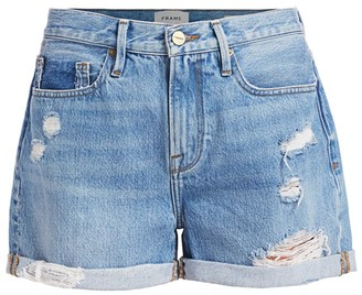 Frame Le Beau Distressed High-Rise Denim Shorts