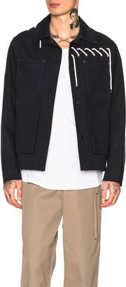 Craig Green Laced Bonded Worker Jacket in Navy | FWRD
