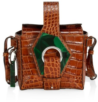 Ganni Micro Croc-Embossed Leather Crossbody Box Bag