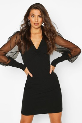 boohoo Tall Mesh Sleeve Bodycon Dress
