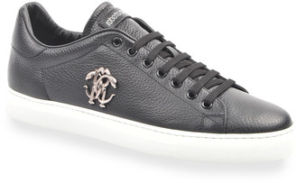 Roberto Cavalli Men's Low-Top Sneakers With Metal Logo