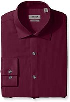 Kenneth Cole Reaction Men's Slim Fit Textured Stripe Solid Spread Collar Dress Shirt