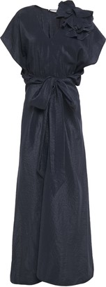 Nina Ricci Belted Floral-appliqued Crinkled-satin Maxi Dress