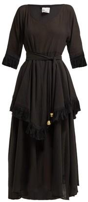 Lisa Marie Fernandez Laura Fringed-trimmed Cotton Midi Dress - Womens - Black