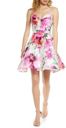 Xscape Evenings Floral Print Open Back Party Dress