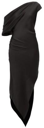 Art School - Dagger Asymmetric Silk-satin Dress - Black