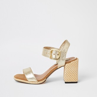 River Island Gold two part block heel sandals