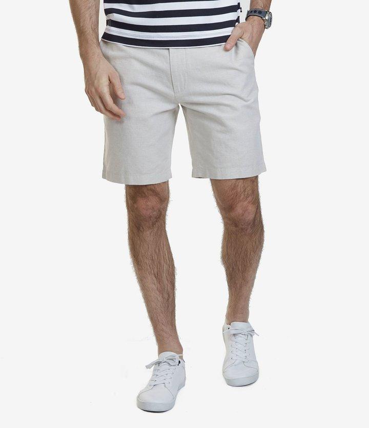 Nautica Classic-Fit Flat-Front Linen Blend Shorts