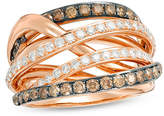 Zales 1-1/4 CT. T.W. Champagne and White Diamond Layered Multi-Row Ring in 14K Rose Gold