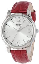 Timex Women's T2P091TN Dark Pink Croco Patterned Leather Strap Watch