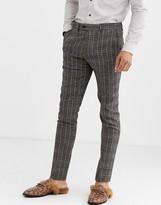 Gianni Feraud Skinny Fit Wool Blend Burgundy Check Suit Trouser-Grey