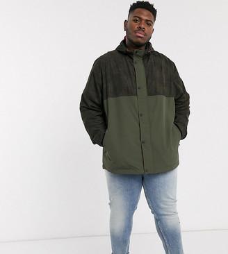 Jacamo lightweight color block jacket with hood in green