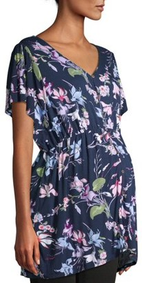 Time and Tru Maternity Short Sleeve Button Front Floral Ruffle Top