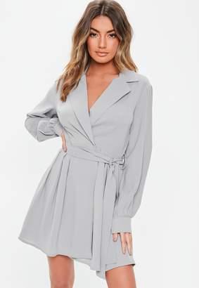Missguided Grey Tie Belt Skater Shirt Dress