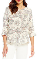 Lucky Brand Scoop-Neck Ruffle Printed Shirt