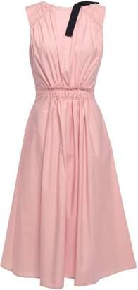 Roksanda Gathered Bow-detailed Cotton-poplin Midi Dress