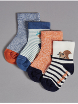 Marks and Spencer 4 Pairs of Cotton Rich StaySoftTM Socks (0-24 Months)