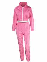 MEALIYA Women Reflective Outfit High Waist Long Pants Two Piece Set Sports Windbreaker Tracksuit Pink