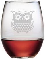 Susquehanna Glass Folk Art Owl Stemless Wine Glass