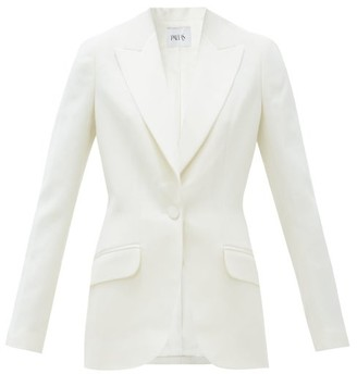 Pallas Paris Hanoii Single-breasted Wool Tuxedo Jacket - White