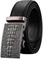 REGITWOW Men's Leather Belts Automatic Retro Buckle Ratchet Slide Black
