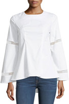 Brandon Thomas Bell-Sleeve Poplin Blouse