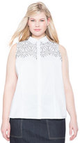 ELOQUII Plus Size Corded Lace Button Up Top