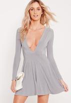 Missguided Slinky Plunge Skater Dress Grey