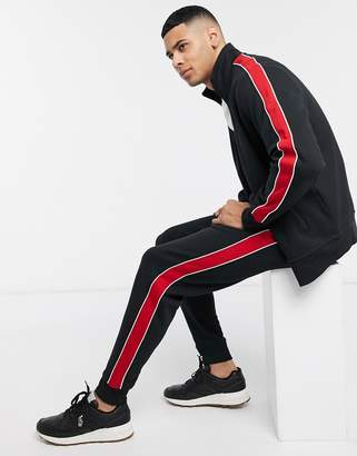 Polo Ralph Lauren knitted tapered jogger in black with side stripe