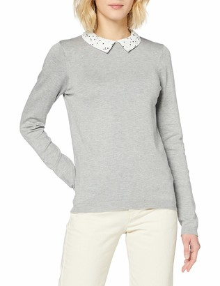 Dorothy Perkins Women's Grey Marl 2 in 1 Spot Collar Jumper Pullover Sweater 18